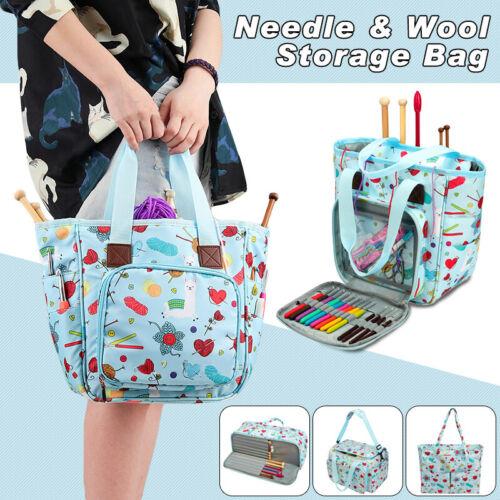 Large Portable Yarn Storage Bag Knitting Crochet Tote Organizer Holder Case