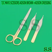 T/c Mayo Dissecting Scissors 6.75 Curved + Adson Brown +adson Dressing Forceps