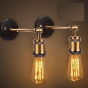 Lampada-con-braccio-da-muro-parete-Vintage-retro-039-industriale-in-metallo-E27