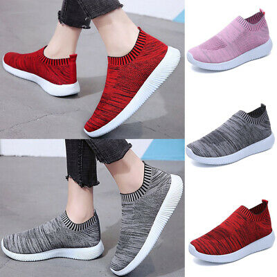 Womens Running Shoes Trainers Slip On Sock Sneakers Casual Black Sports Gym UK 9
