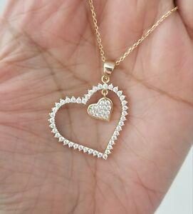 14k-Yellow-Gold-Round-Diamond-Double-Heart-Pendant-Necklace
