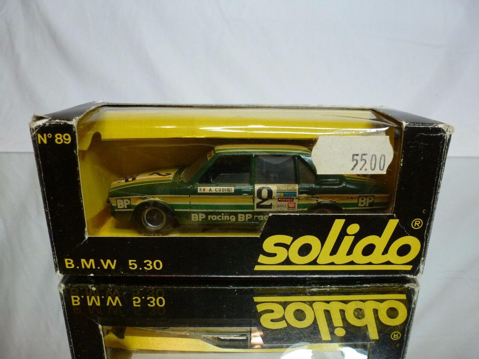 SOLIDO SOLIDO SOLIDO 89 BMW 530 - E12 - BP RACING CUDINI - GREEN 1 43 - GOOD CONDITION IN BOX f67abf