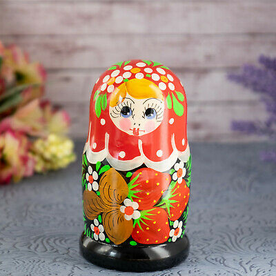 Hat//Hand Made-Micro size//5-pcs Set Russian Traditional Nesting Doll Matreshka w