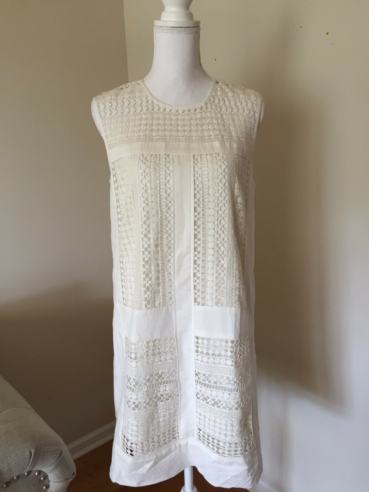 NEW J.Crew Lace Sleeveless Cotton Shift Dress C6549 Size S Small White  148