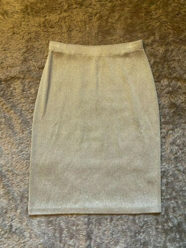 ST. JOHN Evening Gold Metallic Knit Pencil Skirt S
