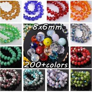60pcs-6x8mm-Rondelle-Faceted-Crystal-Glass-Loose-Spacer-Beads-lot-Jewelry-Making