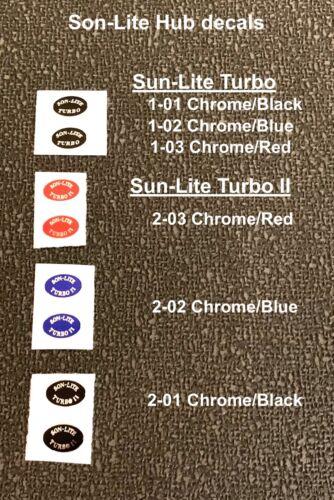 pair SON LITE TURBO /& TURBO II HUB Decals BLACK, BLUE /& RED ON CHROME