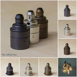 Lamp-Holder-Light-Bulb-Holder-Brass-Fabric-Cable-Pendant-E27-Edison-Vintage
