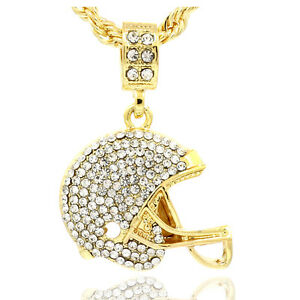 Mens gold plated iced out football helmet small pendant 24 rope image is loading mens gold plated iced out football helmet small aloadofball Image collections