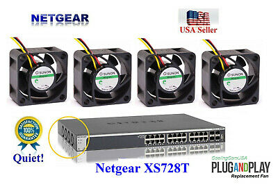 Pack of 4x new Quiet replacement fans for Netgear XS748T Best Home office