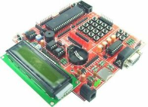 ATmega32 Board, LCD, Keypad, uSD, LEDs, IR, RS232, Temp.Sensor