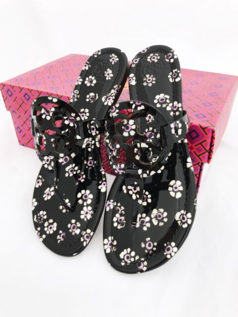 022b286502d4 Tory Burch Miller Sandals Thong Flip Flop Patent Leather Black Floral 7.5