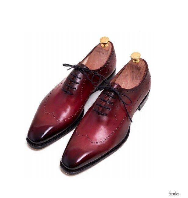 prezzi bassi di tutti i giorni Handmade Leather Leather Leather Maroon Patina Classic Oxfords for Uomo Custom Uomo dress shoe  saldi