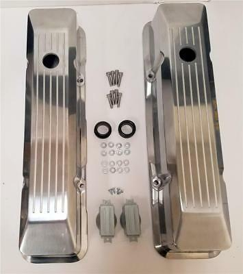 Small Block Chevy Polished Aluminum Valve Covers Recessed Engraved Flame Top