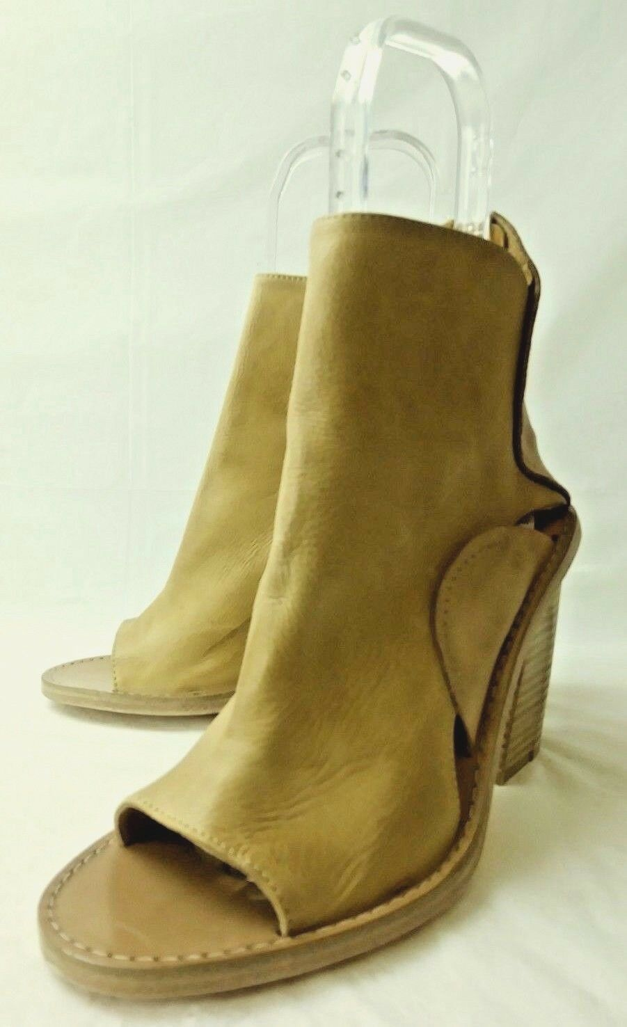 Free People Damenschuhe shoe EU 38 Open US 8 Beige Leder Open 38 Toe Wood block heel 3897 6611b4