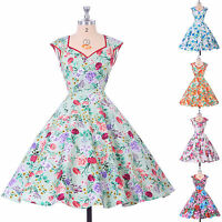 VINTAGE STYLE>>RETRO 50s 60s SWING PINUP PARTY FLORAL EVENING DRESSES