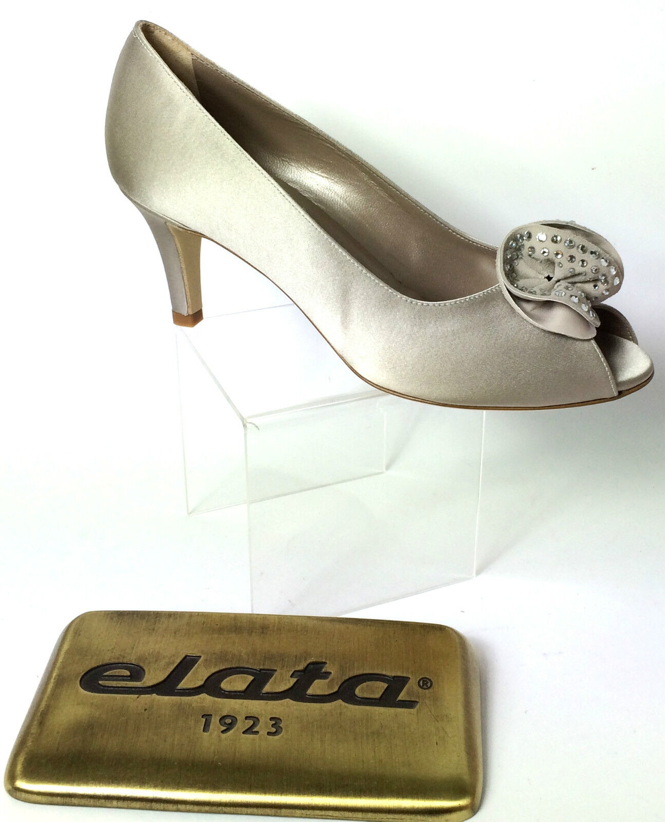 ELATA zapatos mujer SPUNTATE ELEGANTI RASO IN SETA ColorE NUVOLA STRASS H 7 CM