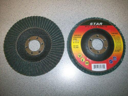 "50 Discs 4-1//2/"" x 7//8/"" Flap Disc Type 27 ZIRC"