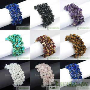 Natural-Gemstone-Chip-Nugget-Beaded-Fashion-Stretchy-Bracelet-Healing-30mm-Wide