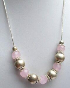 Superbe Collier Réglable Couleur Argent Perles Rose Opaque Bijou Vintage 614