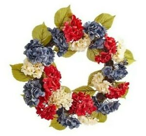 """Pier 1 Americana Patriotic American 21"""" Hydrangea Wreath RED WHITE  NWT SOLD OUT"""