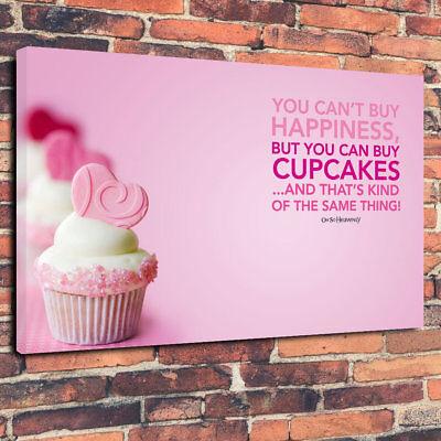 """""""cupcake Felicità"""" Stampata Di Foto Su Tela A1.30""""x20"""" 30 Mm Deep Wall Art- Costo Moderato"""