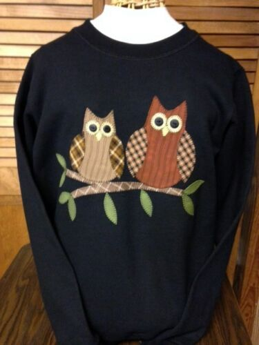NEW LADIES APPLIQUED HANDCRAFTED SWEATSHIRT WITH OWL THEME
