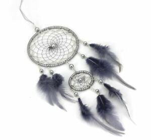 Attrape-Reve-Plumes-Dream-Catcher-Gris-Decoration-Bijoux-des-Lys