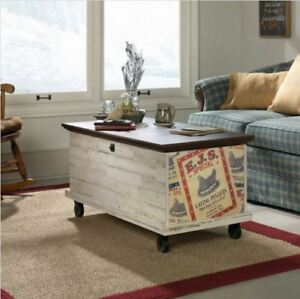 Image Is Loading Farmhouse Coffee Table Rolling Storage Trunk Chest Rustic