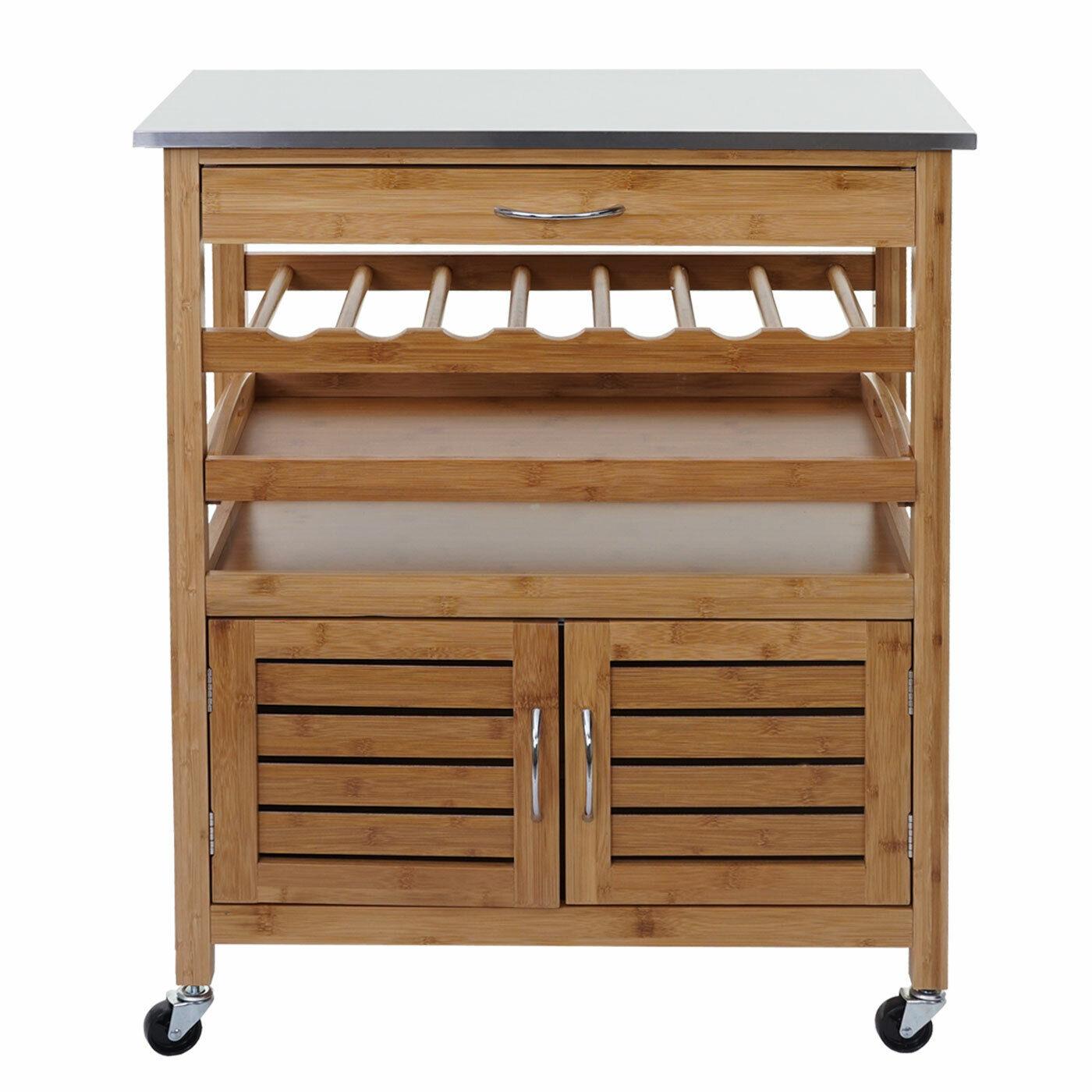 Trolley HWC-D15, Bamboo Stainless Steel Plate, Bar Kitchen Helper 89x70x37cm