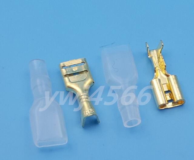 1000pcs Copper Female 6.3mm Spade Insulated Electrical Wiring Crimp ...