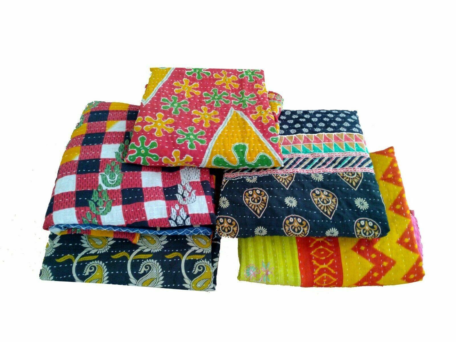 Indisch Vintage Handgefertigt Kantha Decke Wende Baumwolle Werfen Großhandel Lot