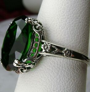 5ct-Green-Emerald-Sterling-Silver-Edwardian-Filigree-Ring-Size-Made-To-Order