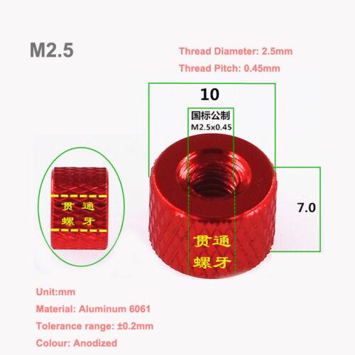 M2.5//P=0.45 Aluminium Alloy Rändelmutter Knurled Hand Twist Mutter Größe 10*7