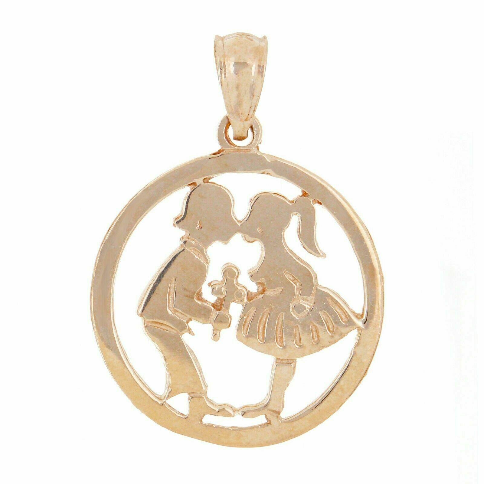 14K Yellow Gold Boy and Girl Kissing Charm Pendant with Chain Necklace