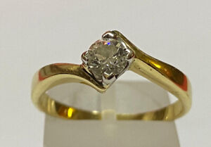 18k Yellow Gold & Diamond Ring - Solitaire - 1/3 Carat - Size: O