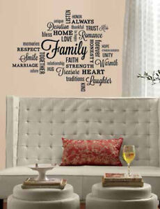 Quote FAMILY Wall Stickers Room Home Decor Inspirational Words - Inspirational words for new home
