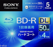 5 Sony Bluray dvd BD-R DL 3D Bluray 4x Speed Inkjet Printble Blu-ray Disc 50GB