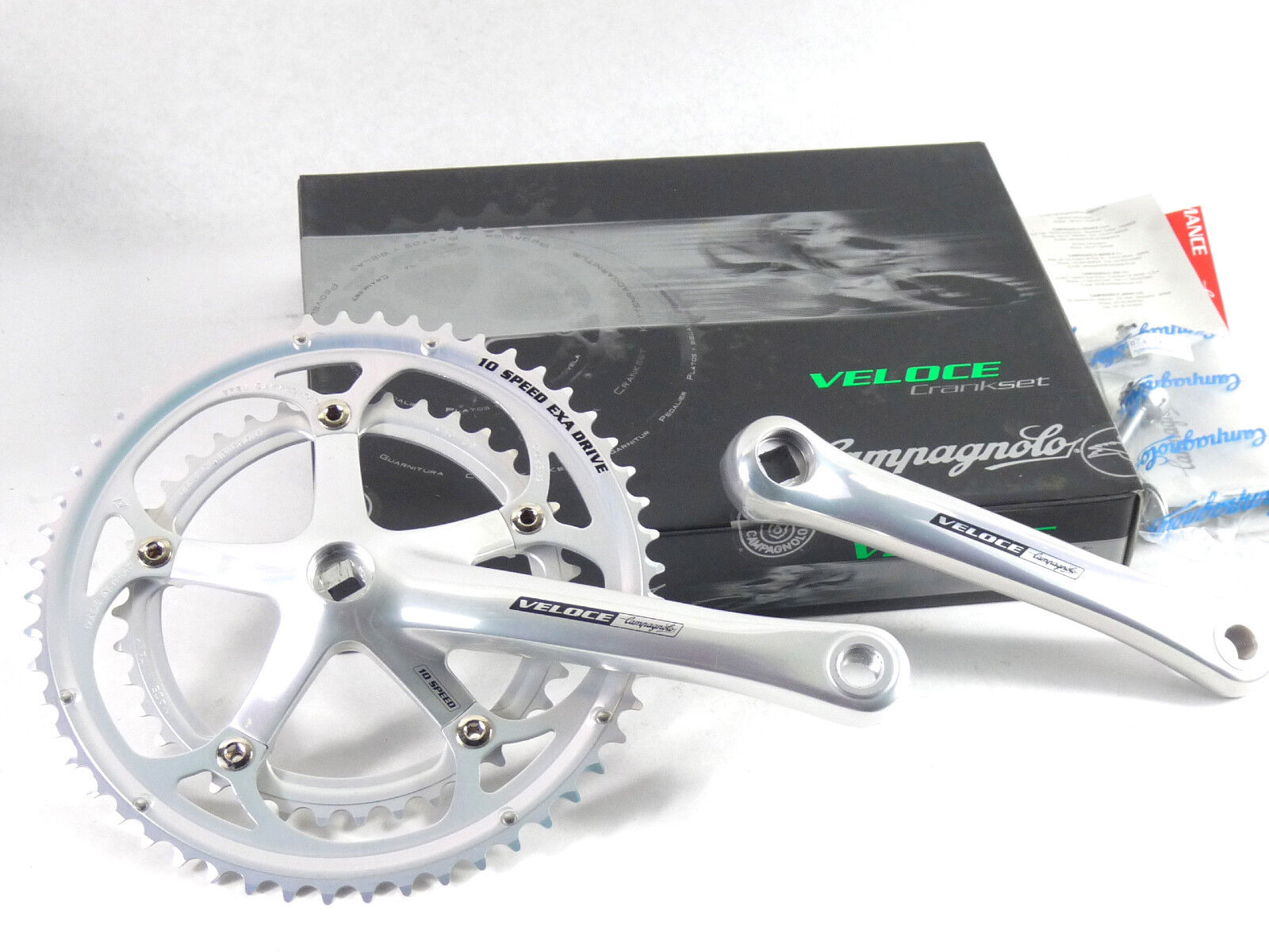 Campagnolo Veloce Crankset 10  Speed 175mm NIB 53-39 bolts Exa Drive NOS  the latest models