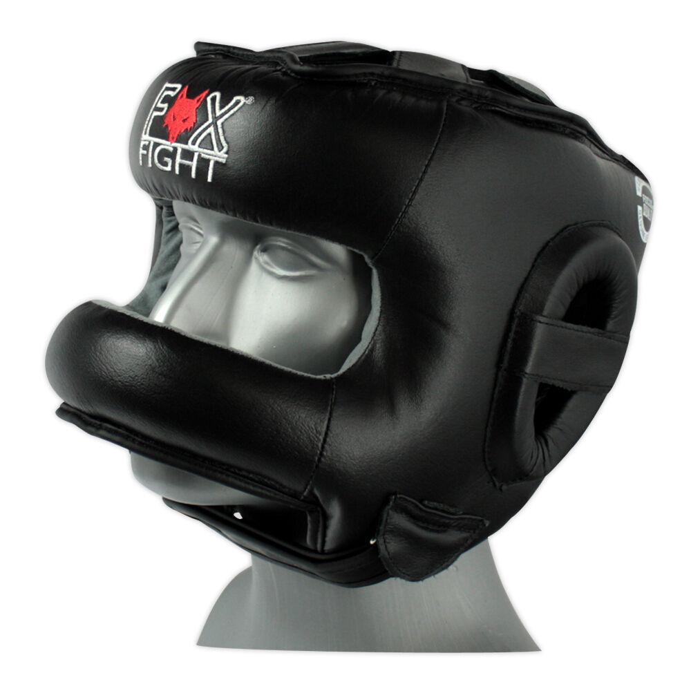 Fox-Fight Kopfschutz mit Bügel Bügel Bügel Nasenschutz Leder Schwarz Kampfsport Boxen  | Clever und praktisch  | Hohe Qualität und geringer Aufwand  | Verwendet in der Haltbarkeit  7e59a2