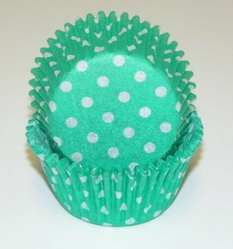 -  Standard Size GREEN /& WHITE POLKA DOTS CUPCAKE LINERS 50 Ct