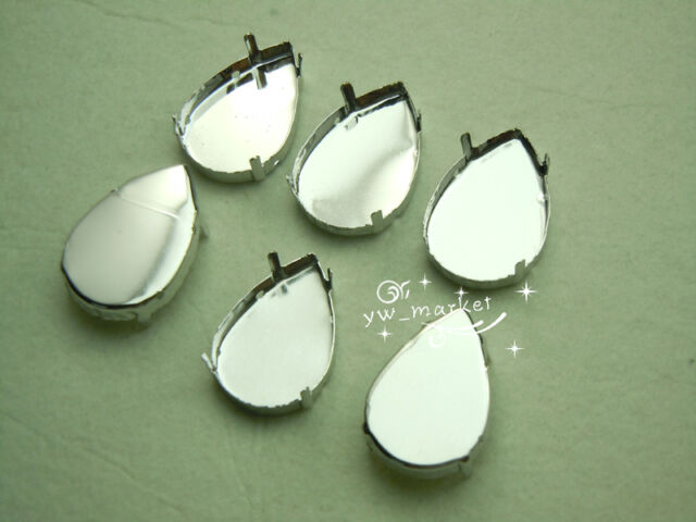 50 PCS 20mm x 30mm Faceted Glass Tear Drop Jewels's Settings For Sewing On