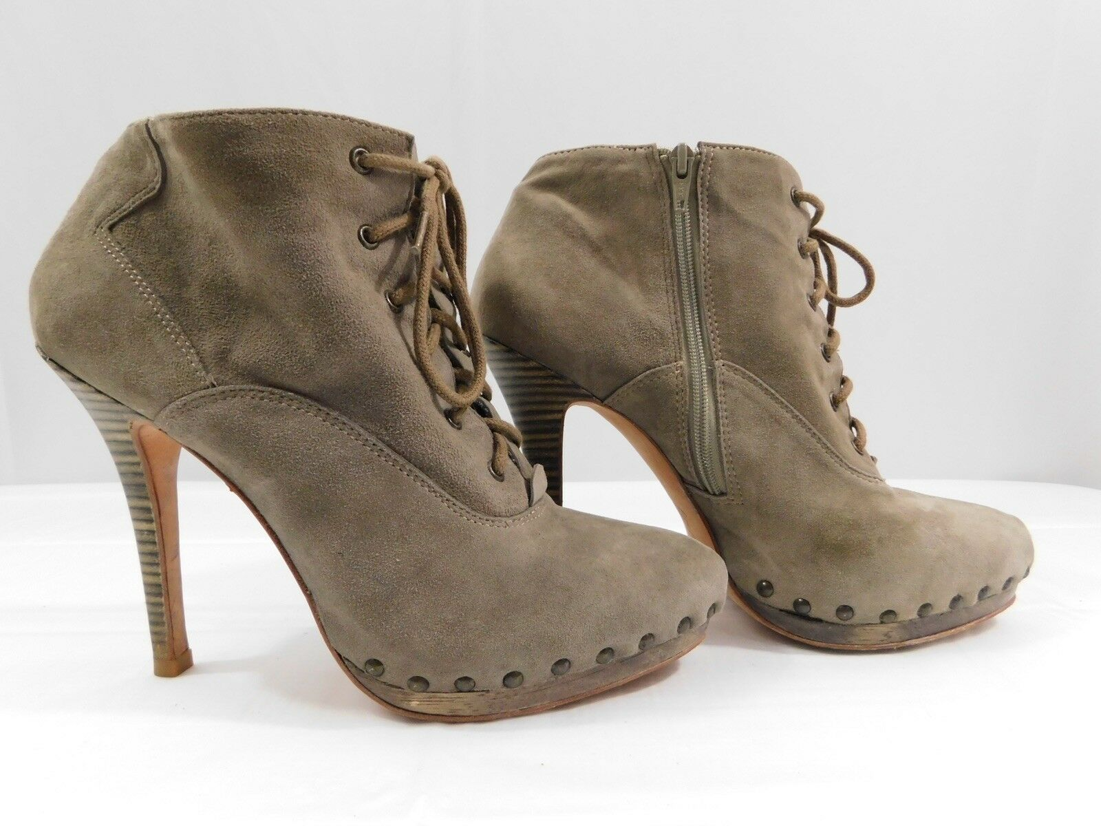 Madison Harding Clay Kid Suede Green Leather Womens Size 8B Booties Heels Boots