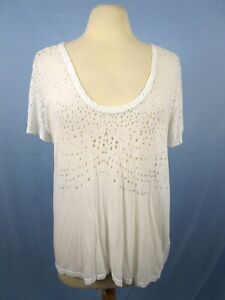 Citizens-of-Humanity-Size-L-White-Distressed-Tee-T-Shirt-Top-Sheer-Cotton