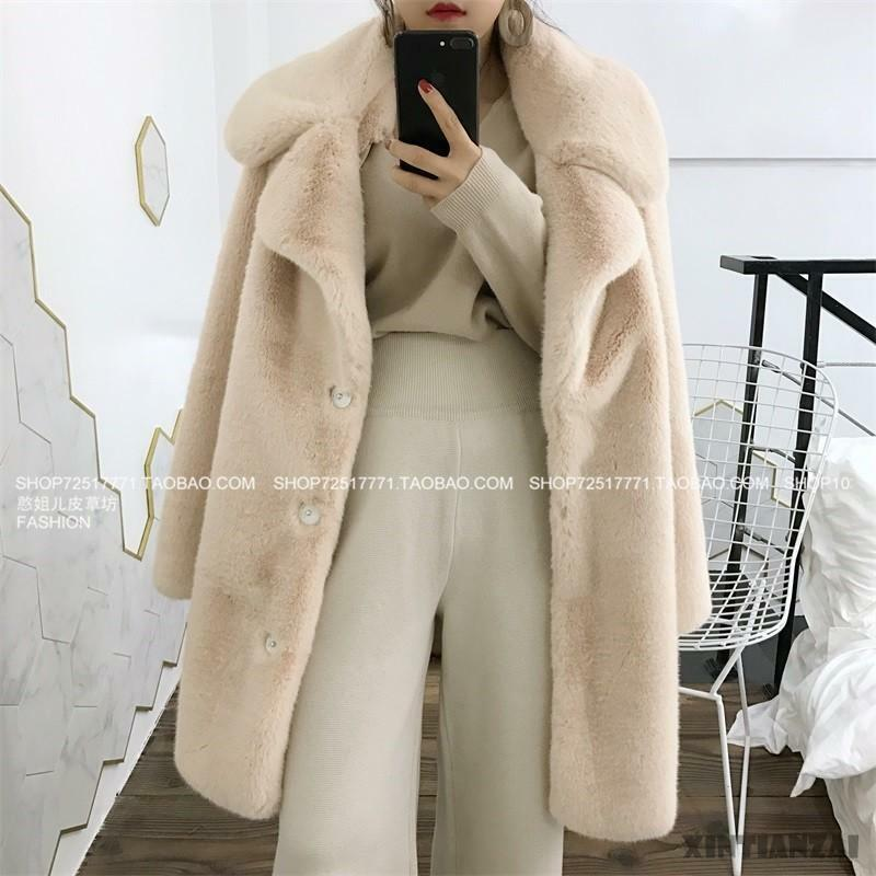 Stylish Real Mink Fur Lapel Collar Ladies Loose Warm Parka Outwear Coat 2019 New