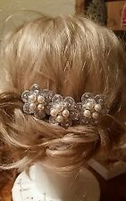 Hecho a mano Plata Perla y Diamante De Imitación Novia Casco/Fascinator de la