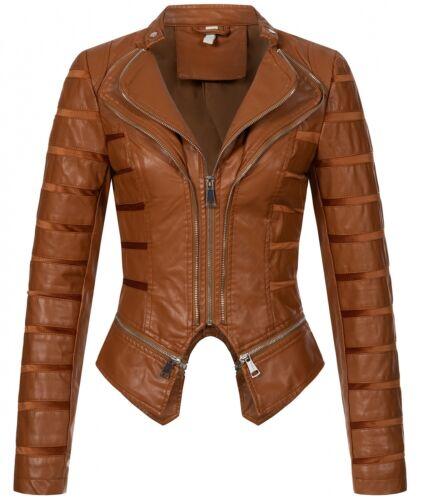 Damen Kunstlederjacke Übergangsjacke mit Wasserfallkragen Bikerjacke D-439 NEU