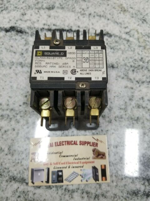 Square D 30a Class 8910 Type Dpa33 Contactor 3 Pole 120 V