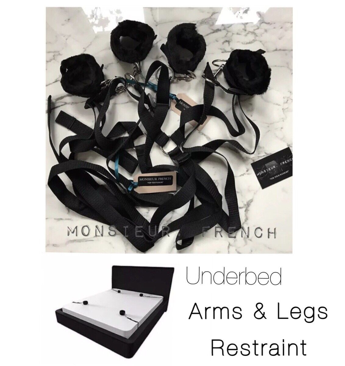 Health & Beauty Health Care Under Bed Arms & Legs Restraint System Handcuffs Bondage British Company .a5