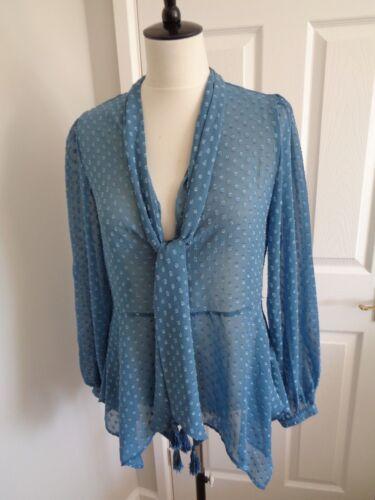 Bnwt 10 Biba Long Blue Spot Top Jacquard Sleeve Size Blouse 66xrzqf